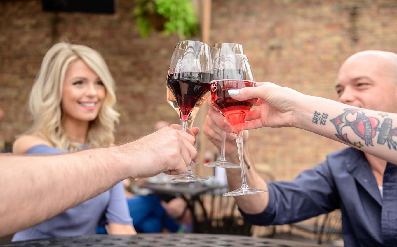 wine club members wine toast